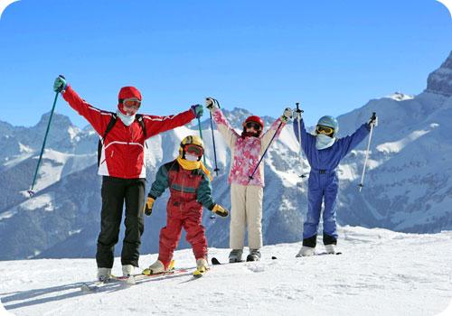 famille ski montagne